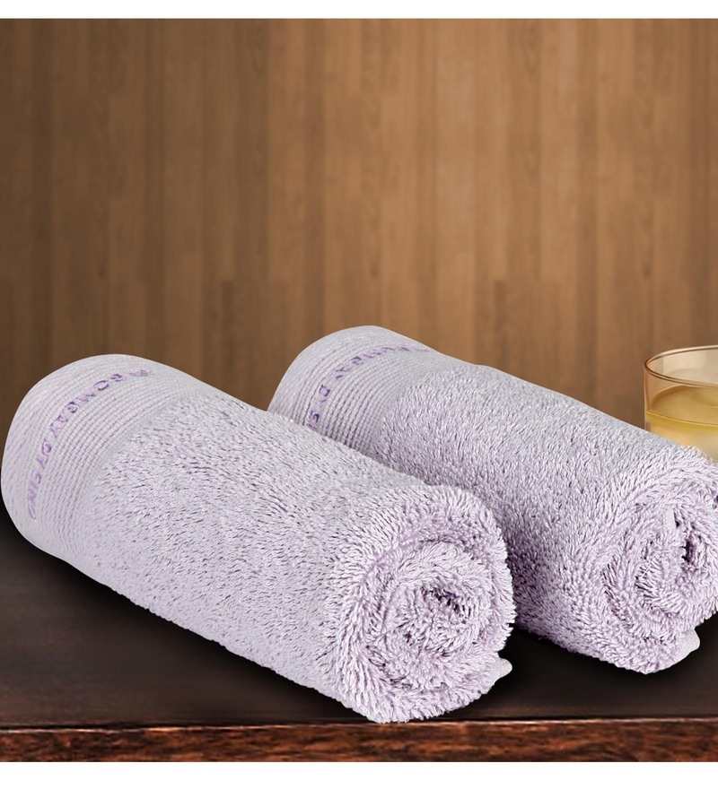 Purple Cotton 24 X 16 Inch Hand Towel - Set of 2 by Bombay Dyeing