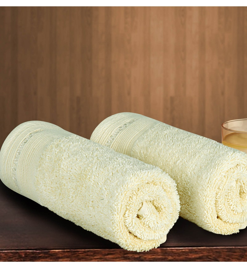 White Cotton 24 X 16 Inch Hand Towel - Set of 2 by Bombay Dyeing