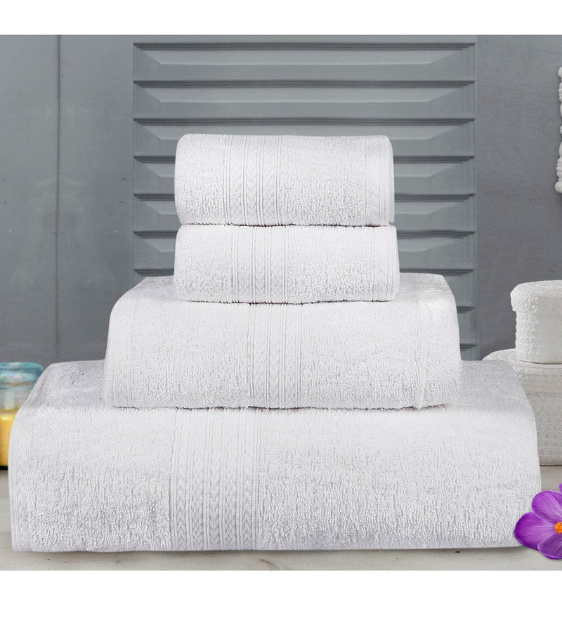 White Cotton Tulip Towels - Set of 4 by Bombay Dyeing