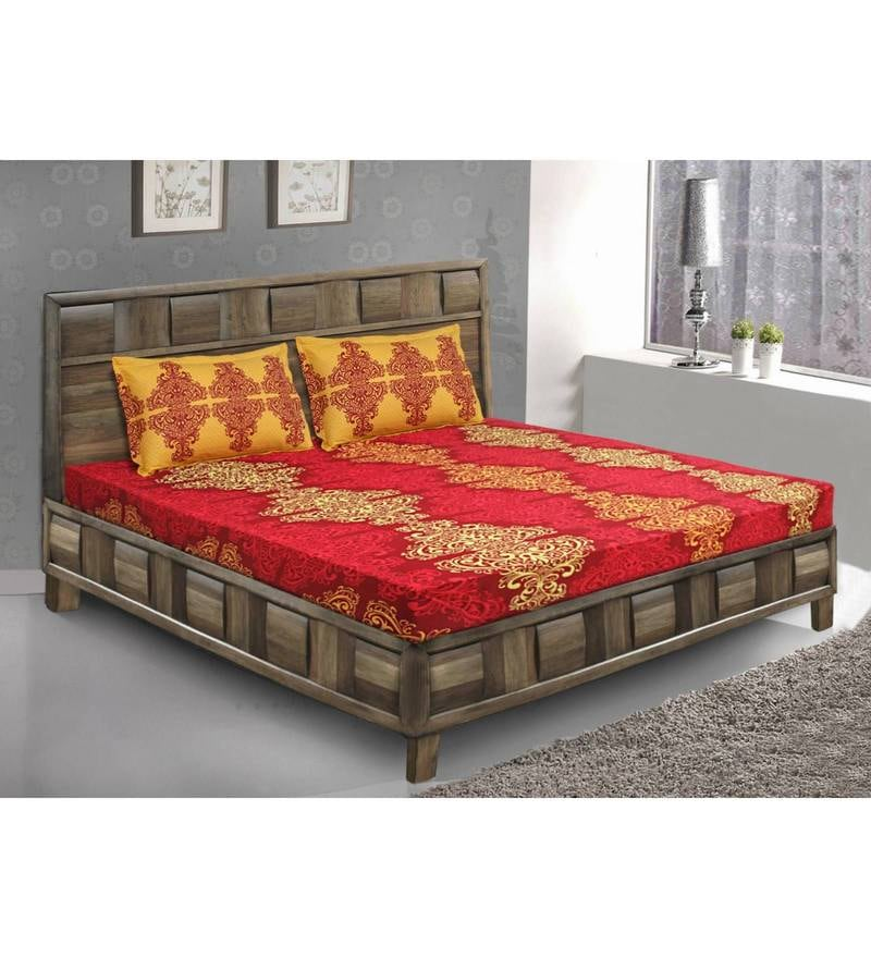 Yellow Cotton King Size Bedsheet - Set of 3 by Bombay Dyeing