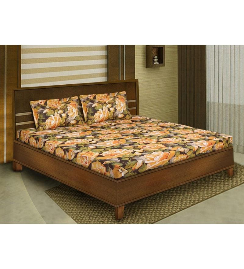 Yellow Cotton Queen Size Bedsheet - Set of 3 by Bombay Dyeing