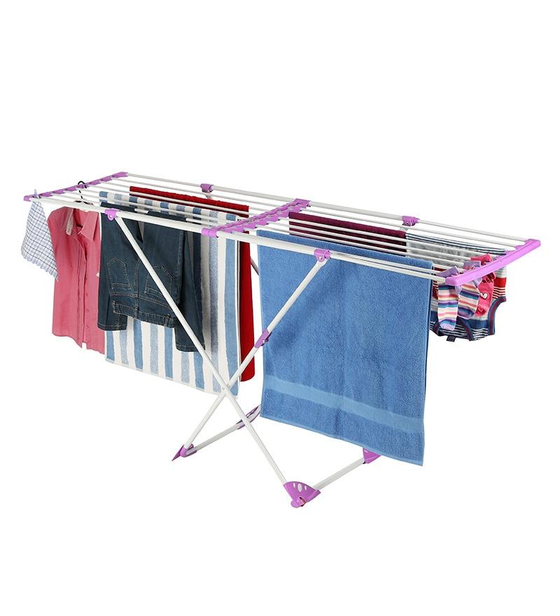 Bonita Plastic Purple Flexy Clothes Drying Stand