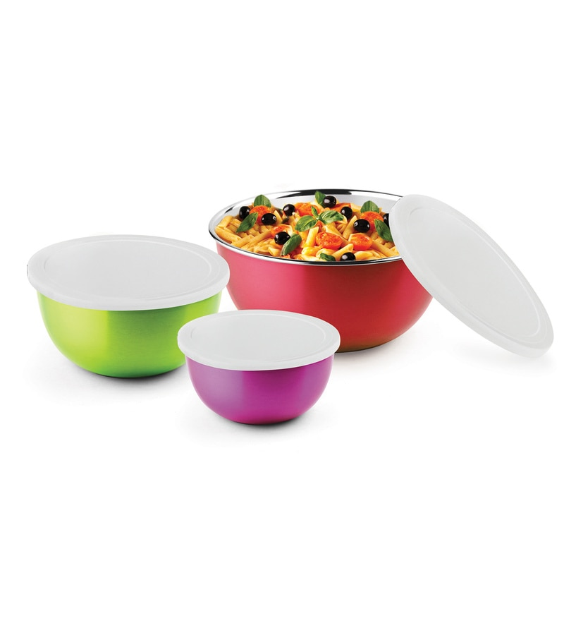 Bonita Microwonder Microwave Safe Stainless Steel Bowls - Set of 3