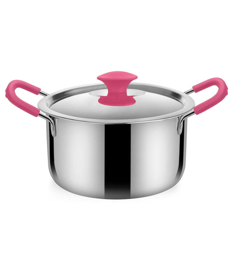 Stainless Steel 2 L Hearty Dutch Oven with Pink Handle by Bonita