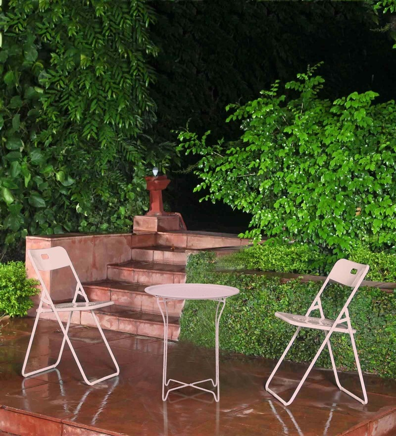 Bordeaux Steel Balcony Set (1T + 2C) in Pink by Hauser