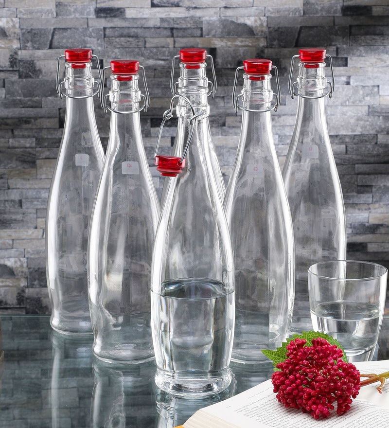 Borgonovo Indro Glass 1 L Bottle with Red Lid