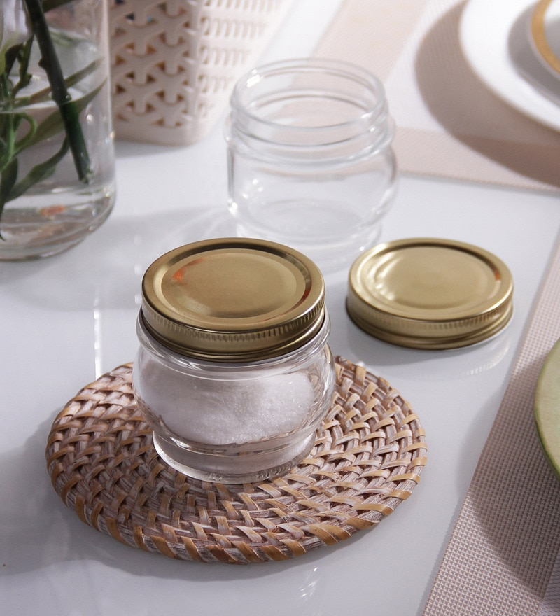 Borgonovo Ortolano Round 212 ML Canning Jar With Golden Lid - Set Of 6
