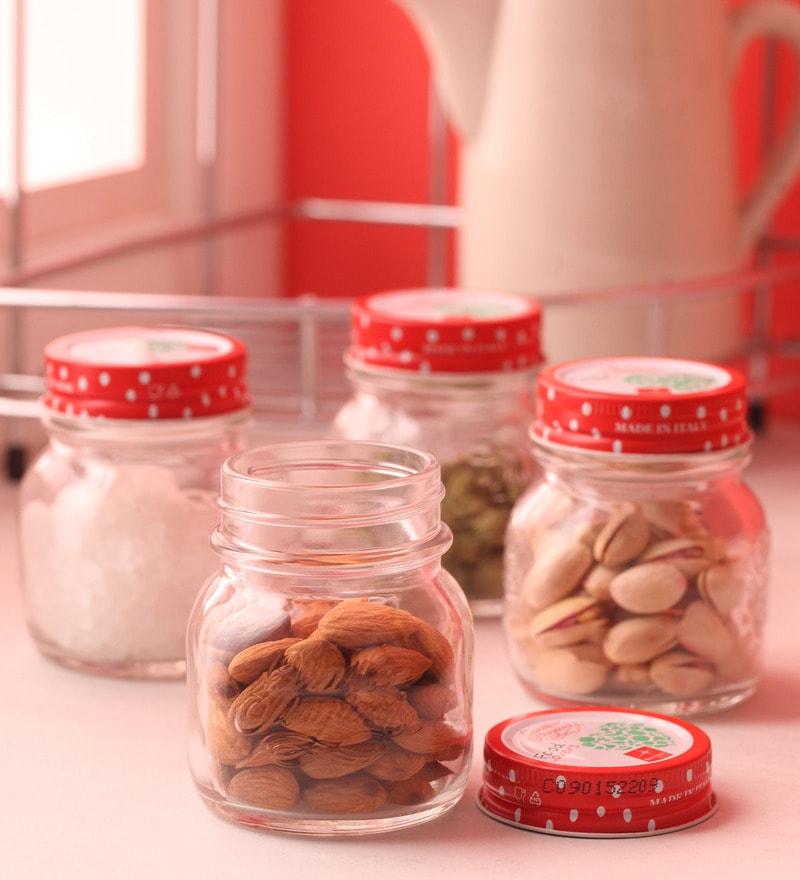 Bormioli Rocco Food Lovers Quattro Red Round 150 ML Jar - Set Of 4