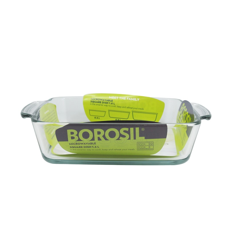 Borosil Borosilicate Glass 1.6L Square Dish with Handle