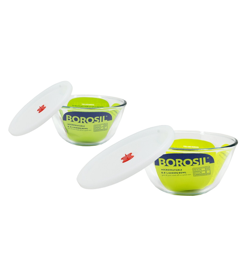 Borosil Borosilicate Glass Mixing Bowl with Lid - Set of 2