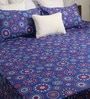 Blue Poly Cotton Queen Size Bedsheet - Set of 3 by Bombay Dyeing