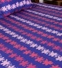 Blue Poly Cotton Floral Double Bed Sheet (with Pillow Cover) - Set of 3 by Bombay Dyeing