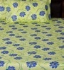 Green Poly Cotton Floral Double Bed Sheet (with Pillow Cover) - Set of 3 by Bombay Dyeing