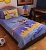 Cartoon Single-Size Cotton Bedsheet in Blue with Pillow Covers (Set of 2) by Bombay Dyeing