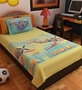 Cartoon Single-Size Cotton Bedsheet in Green with Pillow Covers (Set of 2) by Bombay Dyeing