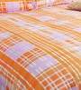 Orange Poly Cotton Queen Size Bedsheet - Set of 3 by Bombay Dyeing