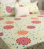 Bombay Dyeing Yellow Poly Cotton Queen Size Bedsheet - Set of 3