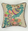 Beige Cotton 16 x 16 Inch Peacock Embroidery Cushion Cover by Bombay Mill