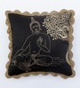 Black & Gold Polyester 16 x 16 Inch Buddha & Boddhi Tree Embroidery Cushion Cover by Bombay Mill