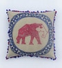 Multicolour Cotton Linen 16 x 16 Inch Elephant Embroidery Cushion Cover by Bombay Mill