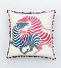 Multicolour Cotton Linen 16 x 16 Inch Zebra Embroidery Cushion Cover by Bombay Mill
