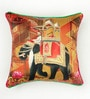 Bombay Mill Multicolour Matt Satin 16 x 16 Inch Embroidery & Mughal Style Print Cushion Cover