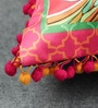 Multicolour Matt Satin 16 x 16 Inch Embroidery & Peacock Print Cushion Cover by Bombay Mill