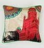Multicolour Matt Satin 16 x 16 Inch Mughal Style Print & Highlighted Cushion Cover by Bombay Mill