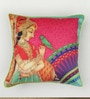 Multicolour Matt Satin 16 x 16 Inch Mughal Style Print & Zari Embroidery Cushion Cover by Bombay Mill