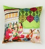 Bombay Mill Multicolour Matt Satin 16 x 16 Inch Mughal Style Print Ethnic Cushion Cover