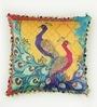 Multicolour Matt Satin 16 x 16 Inch Peacock Print Cushion Cover by Bombay Mill