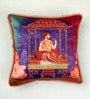 Multicolour Matt Satin 16 x 16 Inch Traditional Mughal Style Print & Embroidery Cushion Cover by Bombay Mill