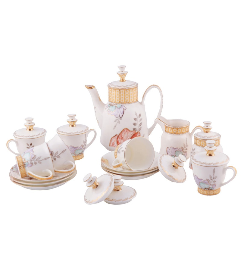 Bp Bharat Nakshtra Floriana Fine Bone China Tea Set - Set of 23