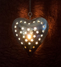 Brass And Copper Metal Silver Plated Heart Shaped Candle Lamp Holder