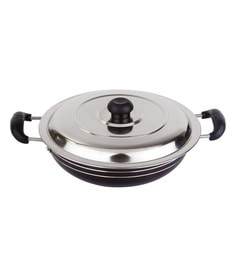 Bright Home Appliances Household Aluminum 2 L Kadhai With Lid
