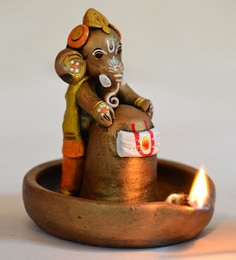 Brown & Copper Terracotta Handpainted Copper Finish Baby Ganesha Holding Lord Shiva In Pound  Idol