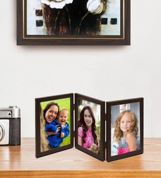 Brown Trio Picture Photo Frames With Gl Front