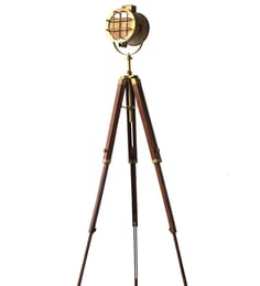 Brown Aluminum And Steel Tripod Floor Lamp - 1713860