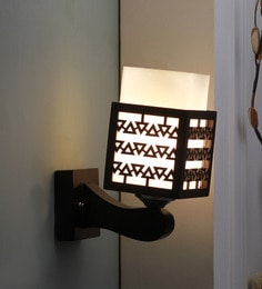 Brown And White Glass And Wood Wall Mounted Light - 1637576