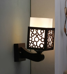 Brown And White Glass And Wood Wall Mounted Light - 1637575