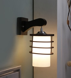 Brown And White Glass And Wood Wall Mounted Light - 1637580