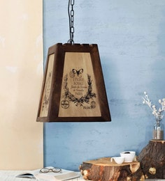 Brown And White Wood Hayes French Pendant Lamp