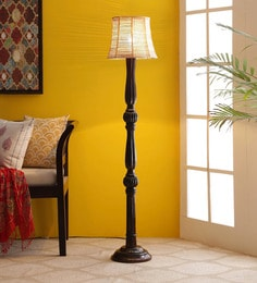 Brown Bamboo Floor Lamp - 1680073