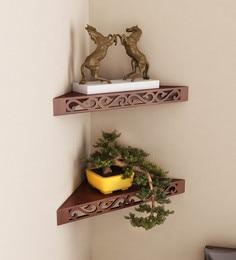 Corner Wall Shelf (Set Of 2) In Brown Finish ...