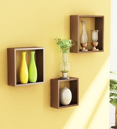 Brown Engineered Wood Cube Wall Shelves - Set Of 3 By Home Sparkle