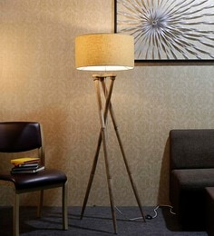 Brown Fabric Floor Lamp - 1690769