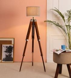 Brown Fabric Floor Tripod Lamp - 1693666