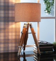 Brown Fabric Table Tripod Lamp - 1693652
