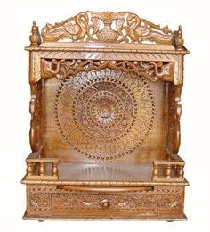 Brown Hand Carved Antique Design Temple