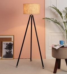 Brown Jute Floor Tripod Lamp